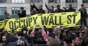 Occupy Wall Street protestors demonstrating