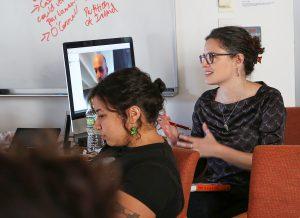 Rebecca Amato, Associate Director at the Urban Democracy Lab, facilitates the discussion with Moskowitz.