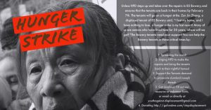 Graphic promoting hunger strike against displacement