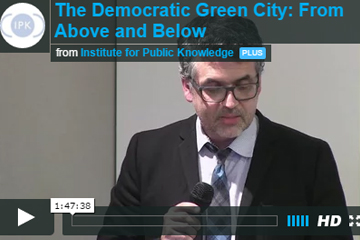 "Video link to video of ""The Democratic Green City: From Above and Below"" event."