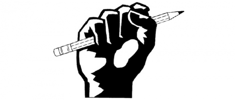 Image of a fist clutching a pencil