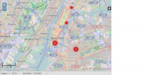 Map of New York City with red dots in the Harlem, Upper East Side, East Village, and Bushwick neighborhoods