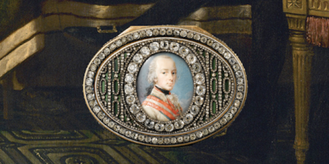 Portion of book's cover showing a colonial man in a diamond encrusted frame