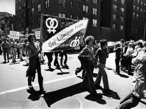 Participants marching in New York City's first pride parade in 1970.