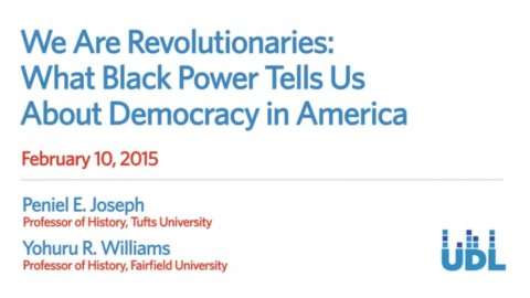 "Title card for ""We Are Revolutionaries: What Black Power Tells Us about Democracy in America"" event"