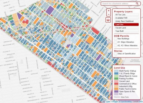 Map of Bushwick community in Brooklyn showing how land is used