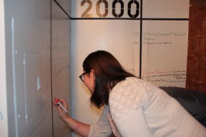 Gallery visitor adds to an interactive timeline