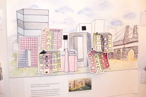 Illustration of Williamsburg skyline with residential buildings added by gallery visitors