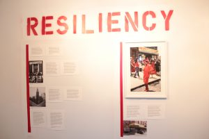 "Displaced Urban Histories exhibit wall with ""Resiliency"" related pieces"