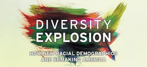 """Colorful brush strokes forming a map of the United States with the words """"Diversity Explosion How New Racial Demographics are Remaking America"""""""