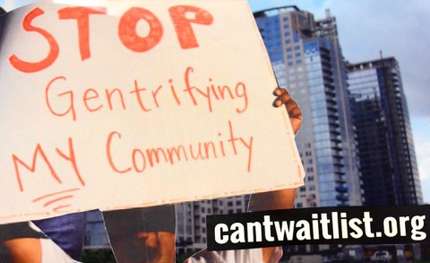 """Collage of person holding """"Stop Gentrifying MY Community"""" sign and cantwaitlist.org website"""