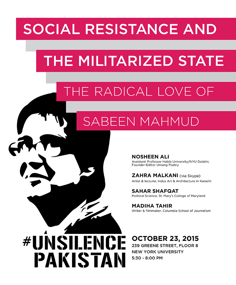 Advertisement for event Social Resistance and The Militarized State