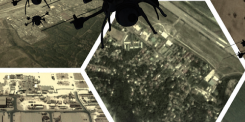 Collage of aerial landscapes and drone sihlouettes