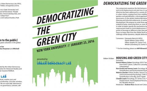 Advertisement and information for Democratizing the Green City