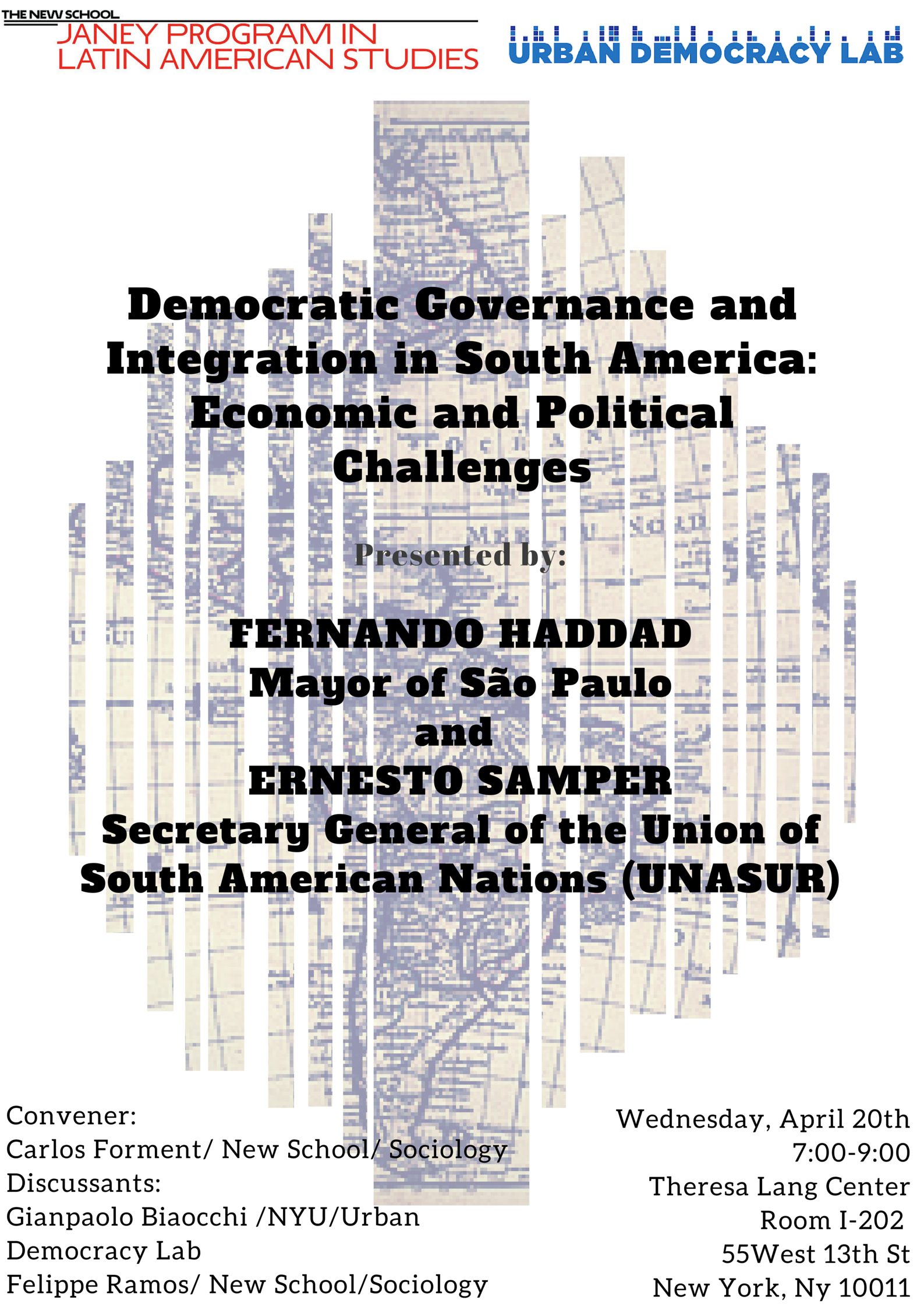 """Advertisement for """"Democratic Governance and Integration in South America"""" event"""