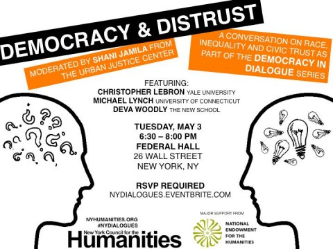 Advertisement for the event Democracy & Distrust