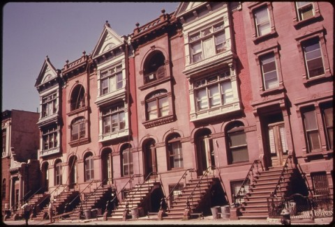 Archival image of row of Brooklyn Brownstones