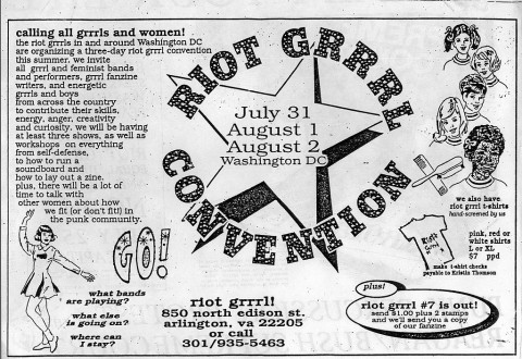 Advertisement for Riot Grrrl Convention