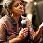 Vasuki Nesiah asking a question at panel