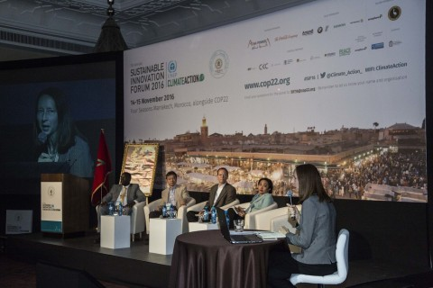 Sustainable Innovations Forum panel sitting on stage