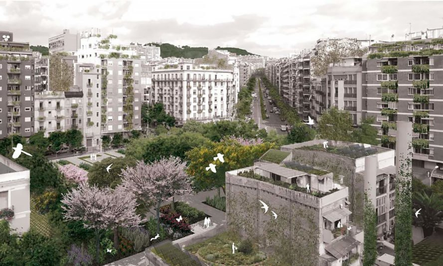 Image of white and gray buildings around a green courtyard and boulevard