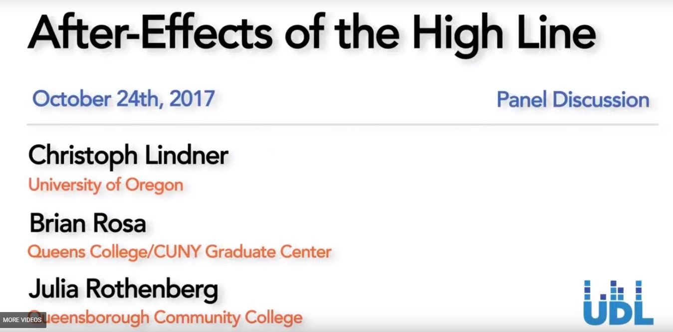 "Title card of video for ""After-Effects of the High Line"" event"