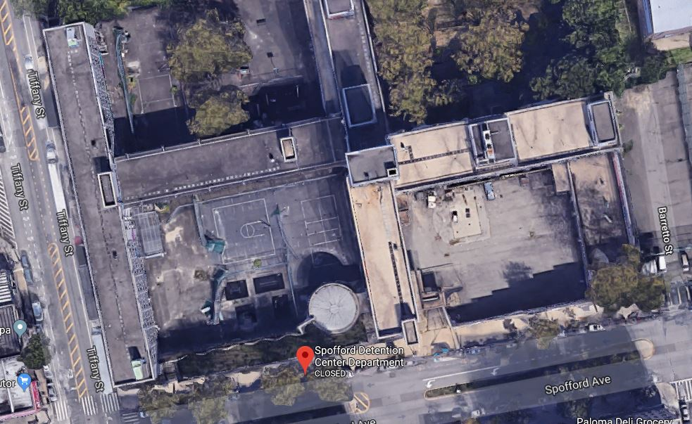 Aerial view of Spofford Detention Center from Google Maps