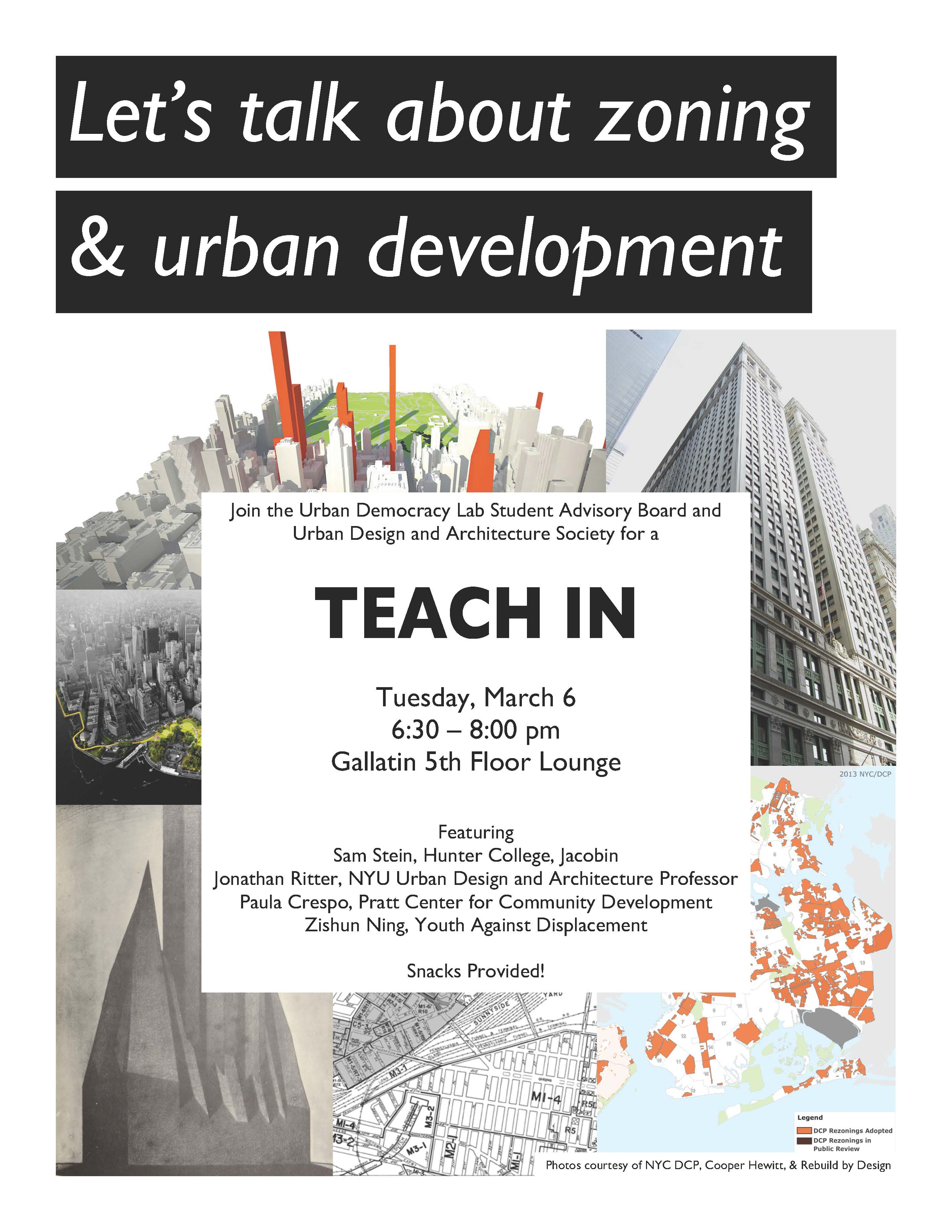 Teach In: Zoning and Urban Development event poster