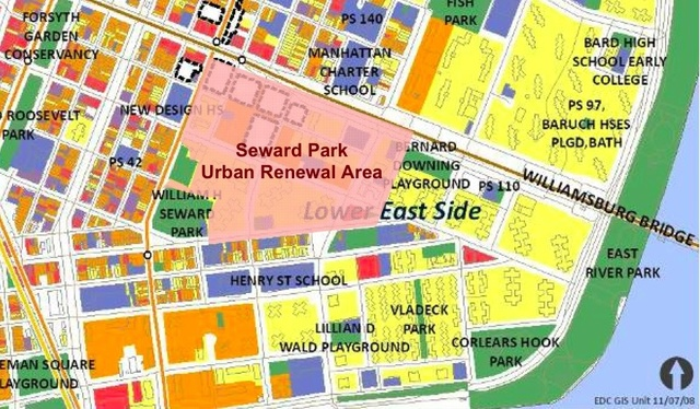Colored map of the Lower East Side and Seward Park Urban Renewal Area