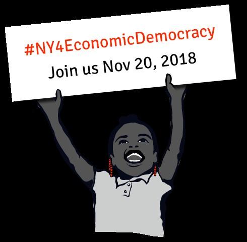 cartoon child holding up a sign for #NY4EconomicDemocracy