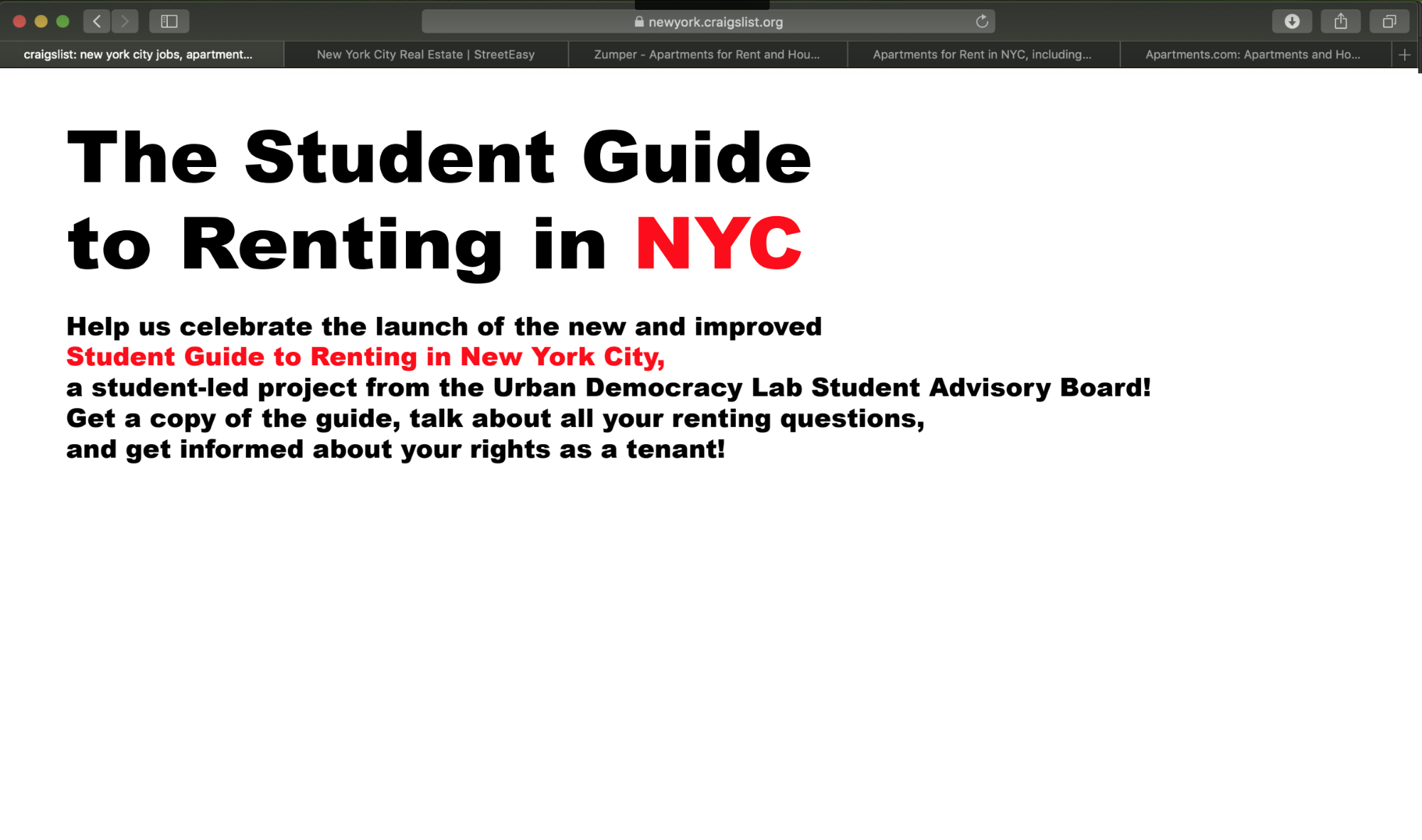 Student Guide to Renting in New York City Launch