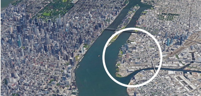 Aerial view of New York City with circle around Long Island City
