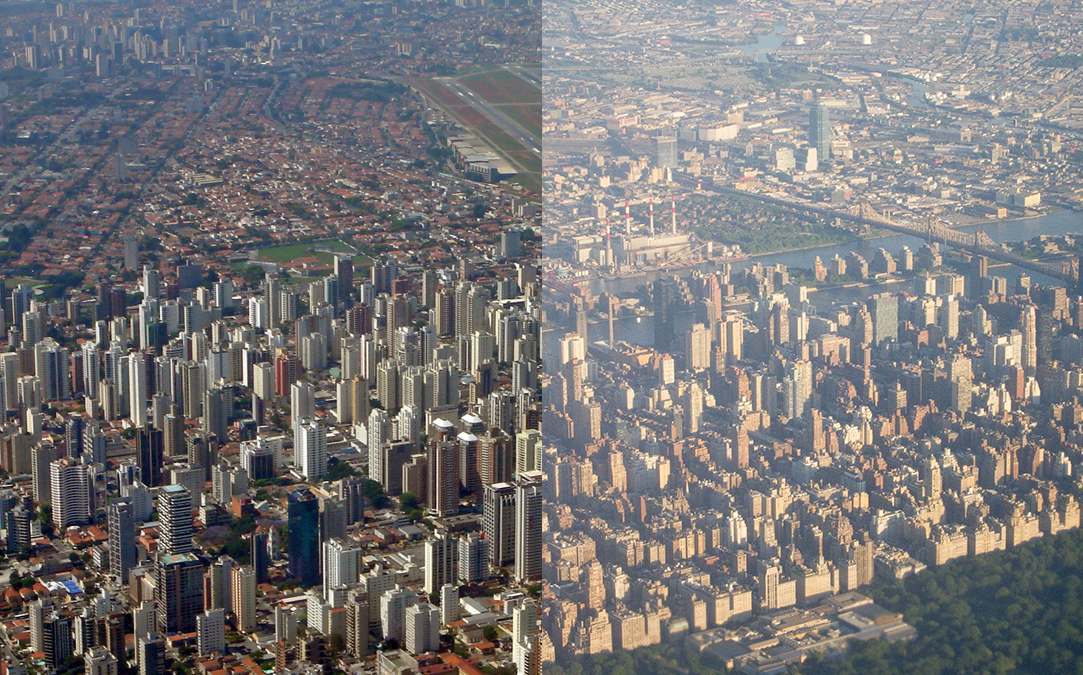 Aerial views of Sao Paulo and NYC blended together